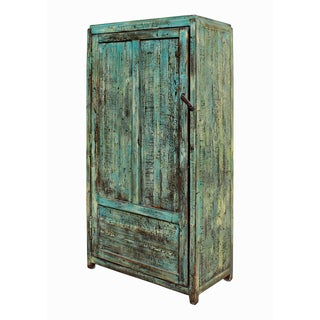 Chinese Distressed Blue & Green Iron Armoire Preview