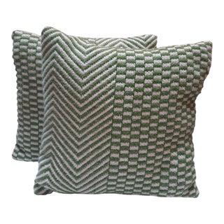 Crochet Textile Pillows - a Pair For Sale