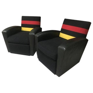 "Pair of Rose Tarlow Leather and Striped Wool ""Emile"" Swivel Chairs For Sale"