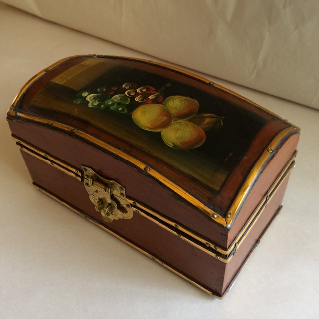 Vintage Hand Painted Fruit Motif Wooden Box For Sale - Image 11 of 11