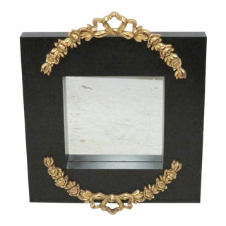 Designer Ebonized Mirror with Gilt Swags
