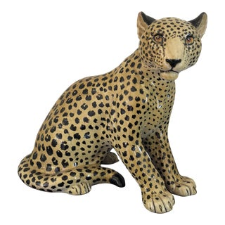 1960s Hollywood Regency Italian Ceramic Leopard Figurine