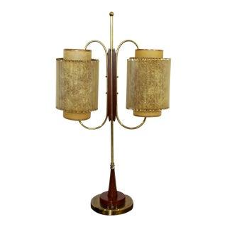 Art Deco Wood & Brass Sculptural Table LampDual Headed For Sale