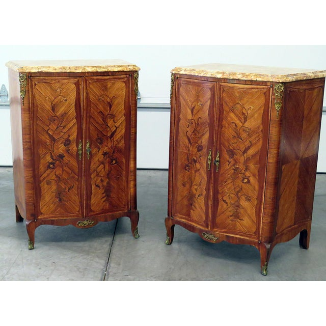 Pair of Maison Jansen Inlaid Marble Top Commodes For Sale - Image 11 of 11