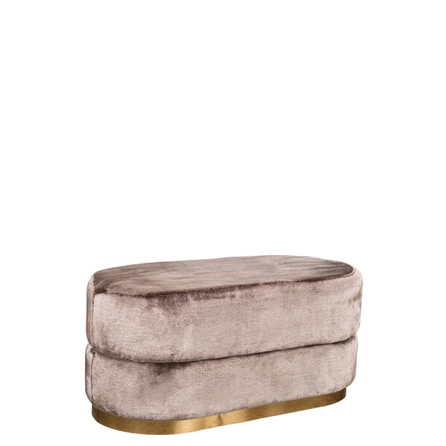 Contemporary Peyton Oval Fur Ottoman in Mink For Sale - Image 3 of 4