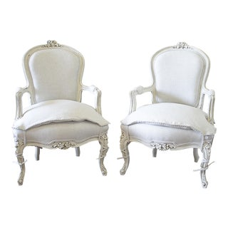 20th Century Louis XV Style Painted and Upholstered Open Arm Chairs - a Pair For Sale