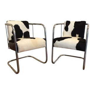 Vintage Cantilevered Cowhide & Leather Chairs - a Pair For Sale