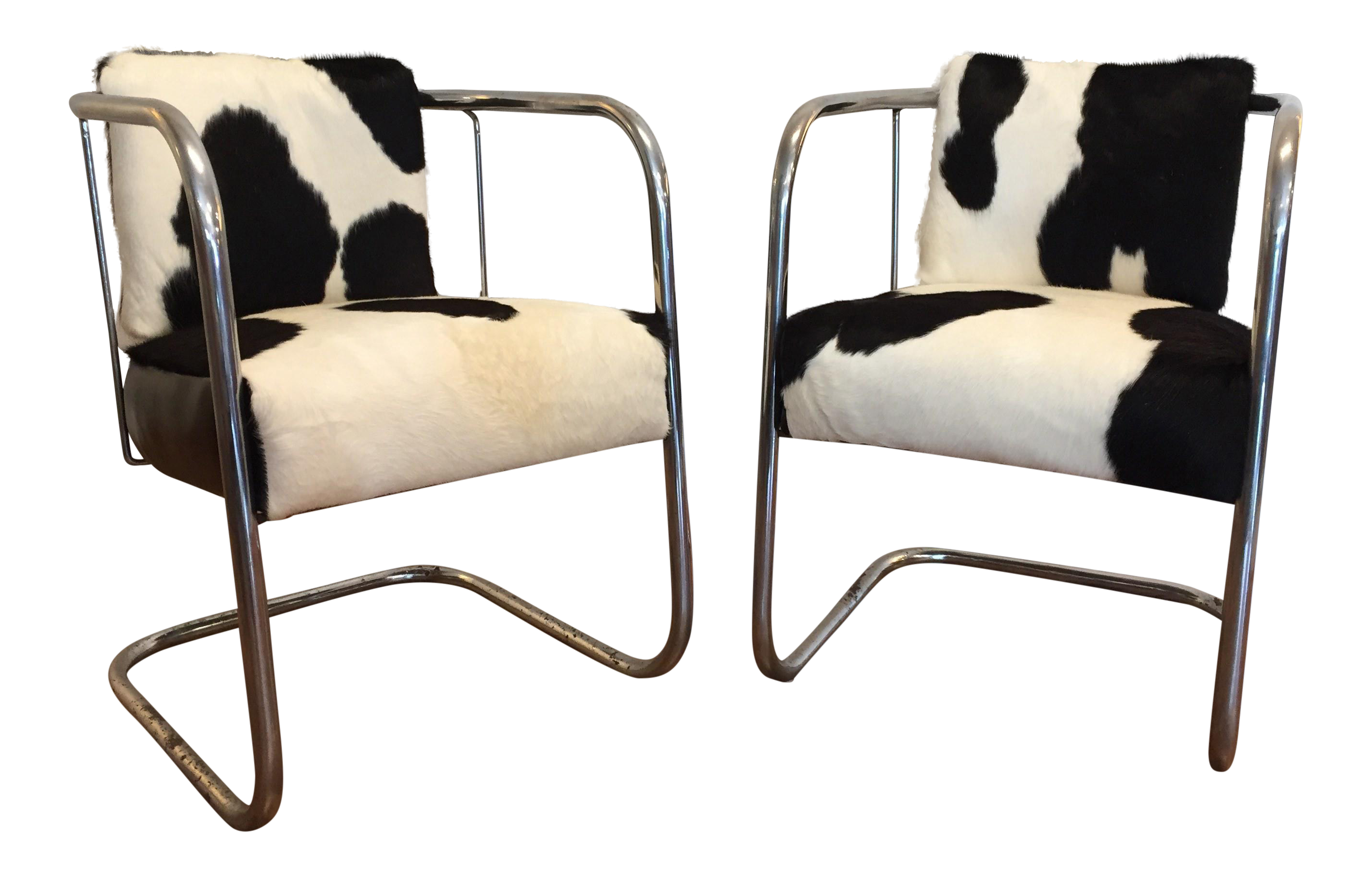Vintage Cantilevered Cowhide U0026 Leather Chairs   A Pair For Sale