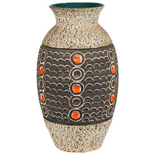 1960s Mid-Century Vase With Black, Orange, and Brown Textured Detail From France For Sale