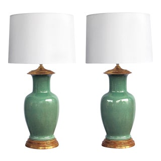 Vintage Celadon Crackle-Glaze Lamps by Wildwood Lamp Co. - a Pair For Sale