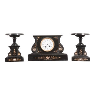 French 19th Century Aesthetic Movement Three-Piece Clock Garniture For Sale