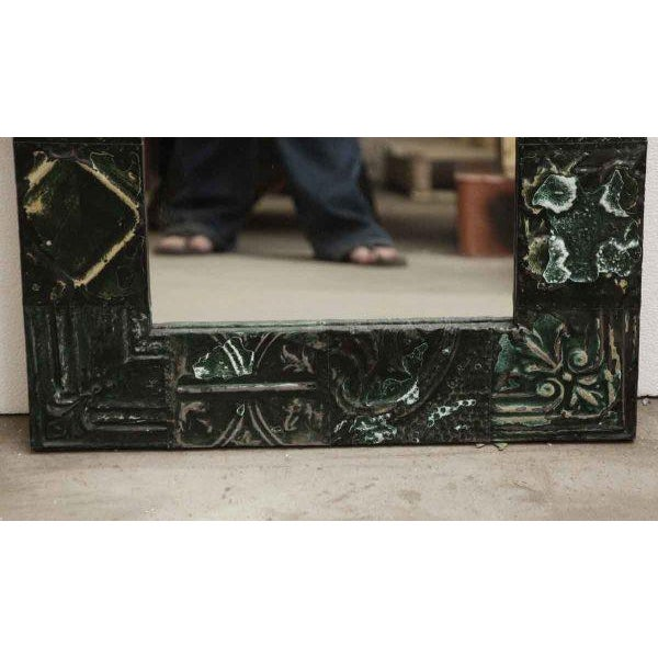 Green Tin Panel Mirror with Mixed Patterns For Sale - Image 4 of 4