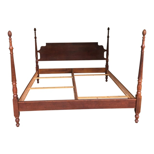 Traditional Pine Cone Four Poster King Bed | Chairish