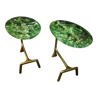 """Pair of Ice Cracked Resin """"Gucci"""" Style Design Brass Side Tables For Sale"""