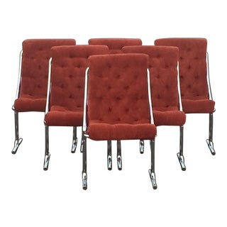 Mid Century Daystrom Chrome Burnt Orange Tufted Velour Canteliever Dining Chairs- Set of 6 For Sale