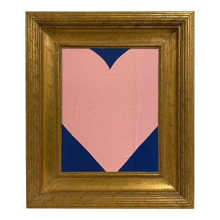 Ron Giusti Mini Heart Navy Blush Painting, Framed For Sale