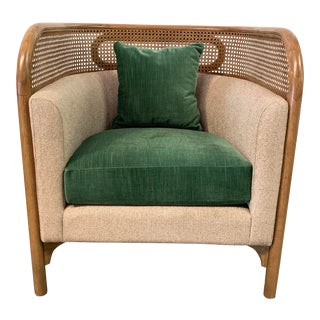 Cane Detail Accent Lounge Chair For Sale