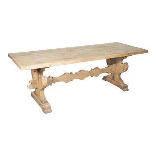 19th Century Italian Baroque Style Bleached Tuscany Trestle Farm Table For Sale