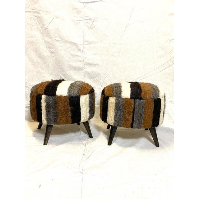 Chocolate Stunning Pair of Vintage Alpaca Fur Ottomans Foot Stools For Sale - Image 8 of 8
