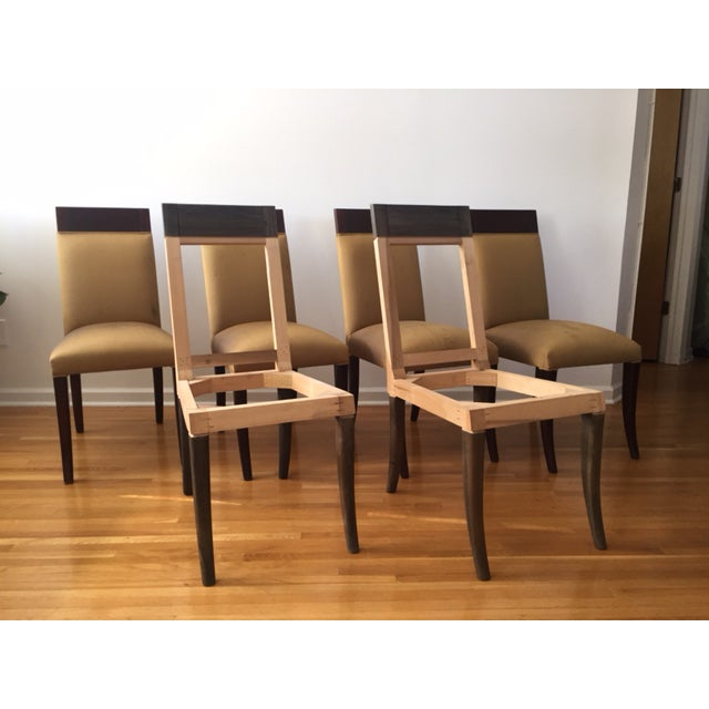Sergio Savarese Dialogica High Back Wood and Fabric Dining Chairs - Set of 6 For Sale - Image 13 of 13