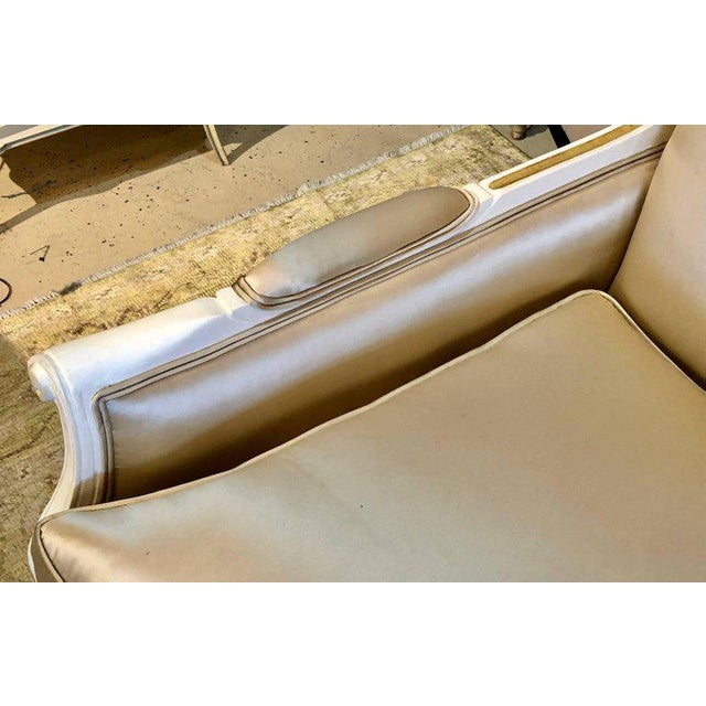 Wood Gilt and Paint Decorated Settee / Loveseat in a Fine Satin Upholstery For Sale - Image 7 of 13
