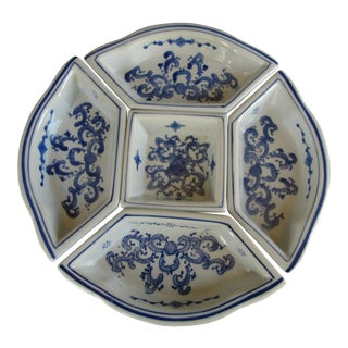 Blue and White Chinoiserie Modular Serving Dishes For Sale