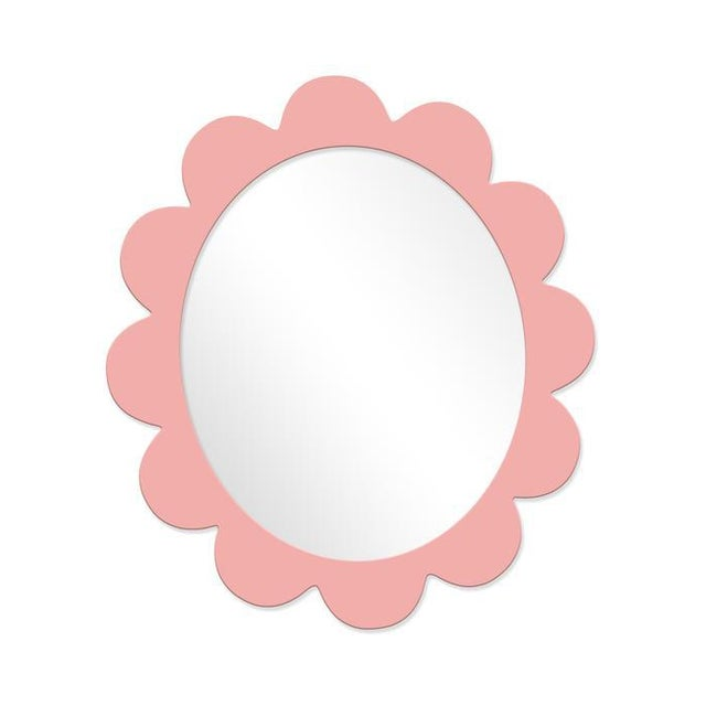 Contemporary Fleur Home x Chairish Iris Oval Mirror in Pink Punch, 48x42 For Sale - Image 3 of 3
