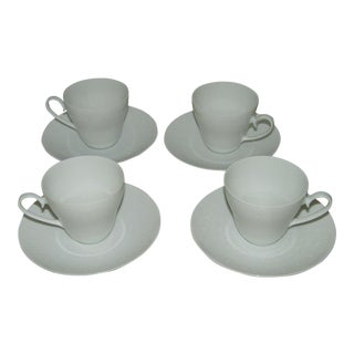 1970s Traditional Rosenthal White China Teacups and Saucers - Set of 4 For Sale