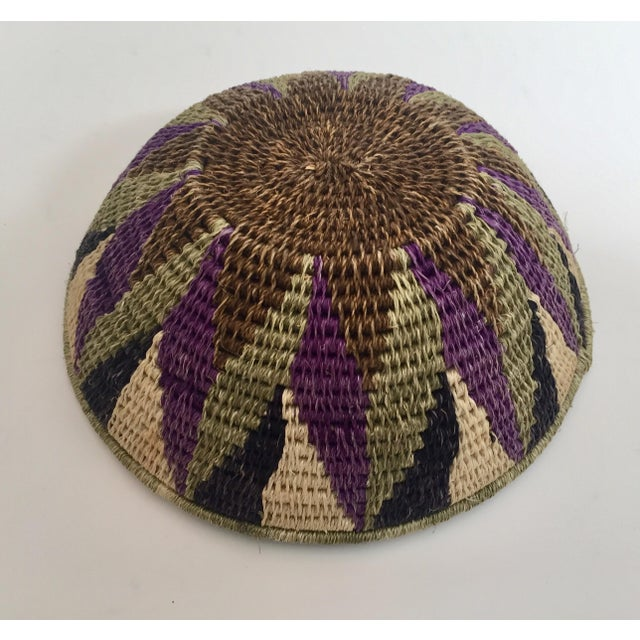 Blue Native American Polychrome Seagrass and Silk Woven Basket For Sale - Image 8 of 12