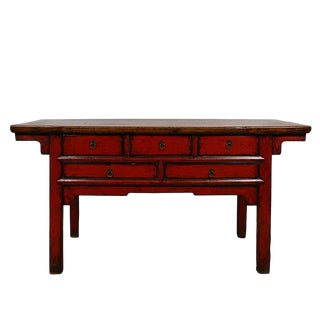 Antique Chinese Red Lacquered Console Table For Sale