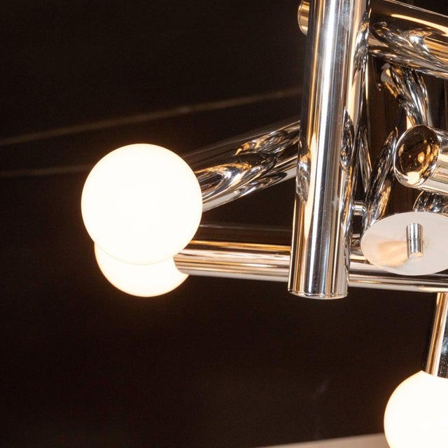 1970s Mid-Century Modern Sculptural Chrome and Frosted Glass Chandelier by Sciolari For Sale - Image 5 of 8