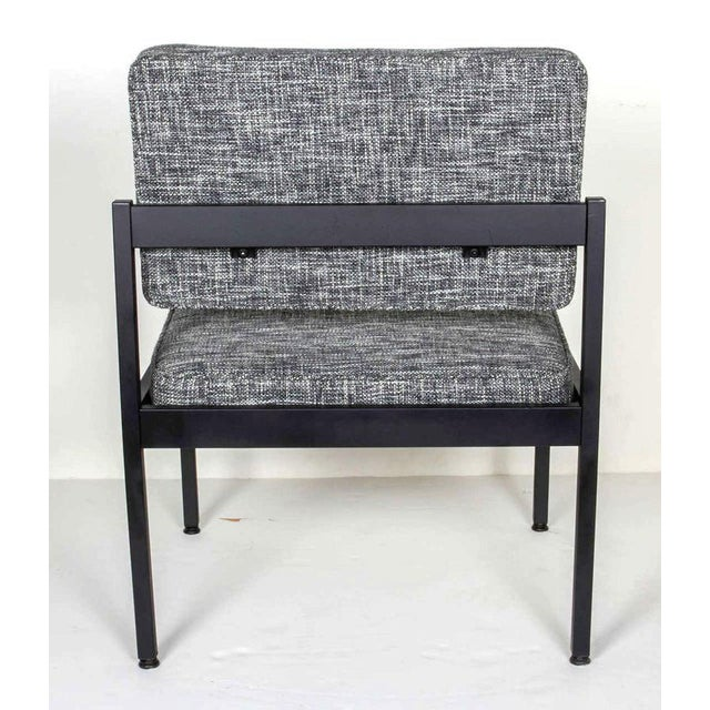 Metal Mid-Century Modern Industrial Tweed Chair in the Style of Knoll For Sale - Image 7 of 10