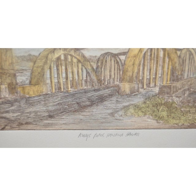 "Rainbow Bridge ""Andy's Place - Haleiwa, Hawaii"" Color Etching by Partee c.1970s For Sale - Image 5 of 6"