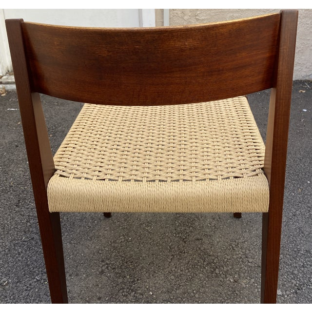 Set of 4 Danish Teak Cord Seat Dining Chairs For Sale - Image 9 of 12