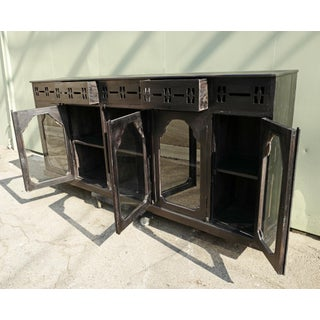 Antique Ebony Colonial Display Cabinet Preview