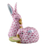 Image of Easter Gift! 1970s Herend Porcelain Raspberry Rabbits For Sale
