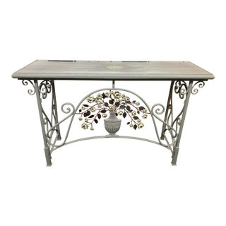 Antiqued Glass + Metal Console From CreativeCo-op For Sale