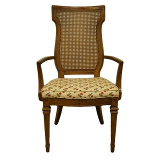 High End Italian Provincial Cane Back Dining Arm Chair For Sale