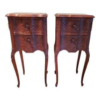 1800s Vintage Hand-Carved French Commode Tables - a Pair For Sale