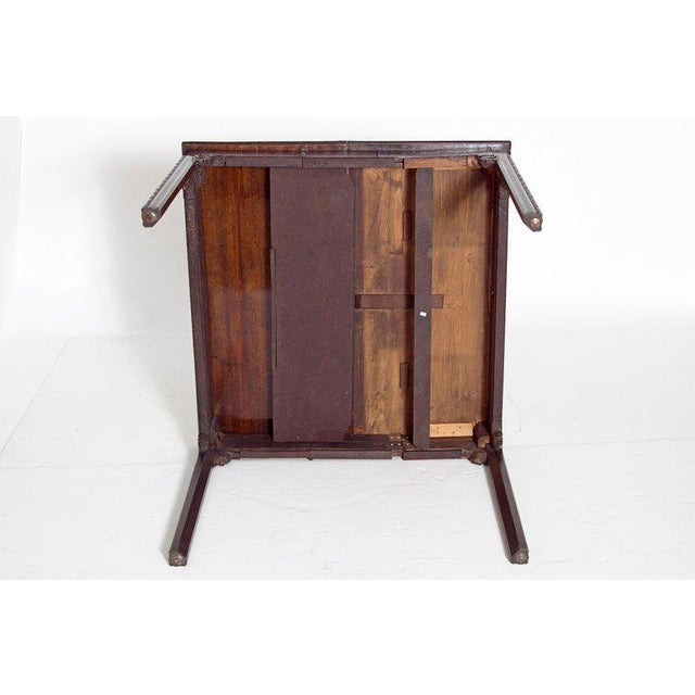 Green 18th Century George III Mahogany Concertina Action Card Table For Sale - Image 8 of 13