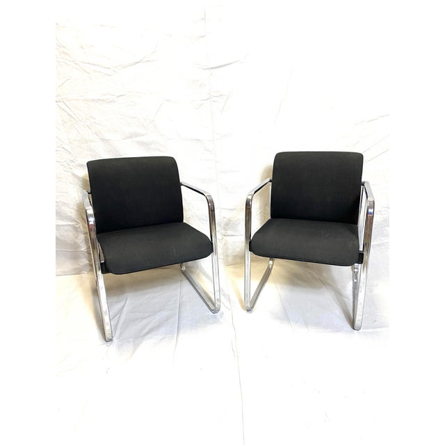 Marvelous Peter Protzman for Herman Miller Chrome Black Fabric Chairs - a Pair For Sale - Image 13 of 13