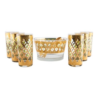 Culver Valencia Glasses and Ice Bucket Set For Sale