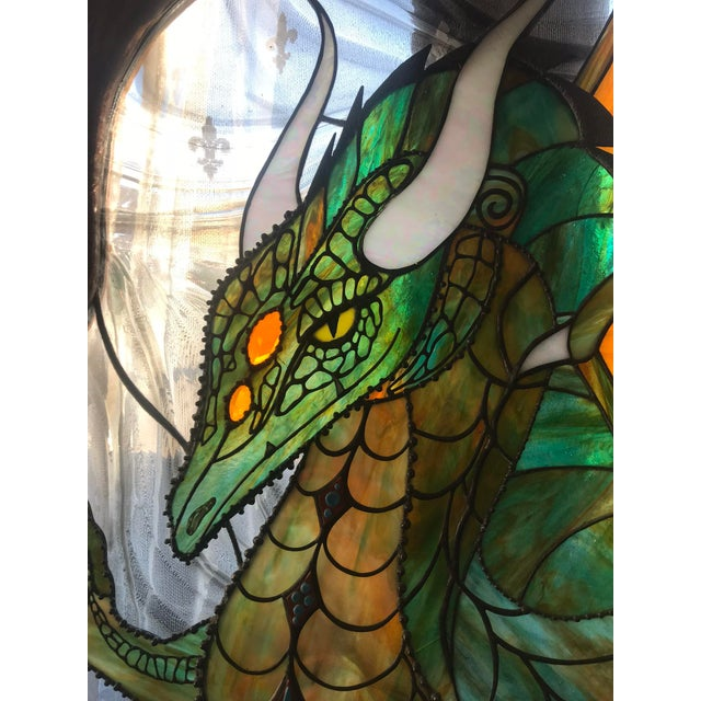 Dragon Stained Glass Panel Artist Signed With Wood Frame For Sale - Image 10 of 11