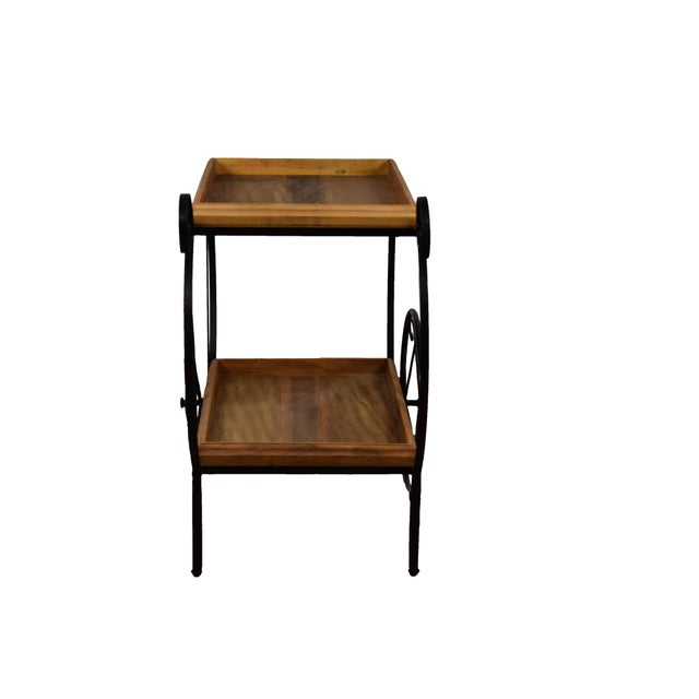 Rustic Bar Cart - Reclaimed Wood & Wrought Iron - Image 4 of 5