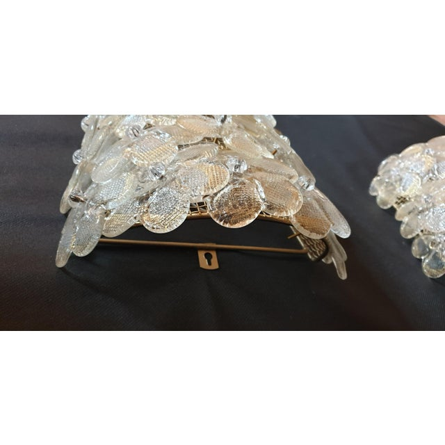 Mid-Century Modern Murano Glass Gold Flower Sconces by Barovier - a Pair For Sale In Boston - Image 6 of 11