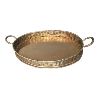 Vintage Woven Brass Gallery Tray With Faux Bamboo Handles For Sale