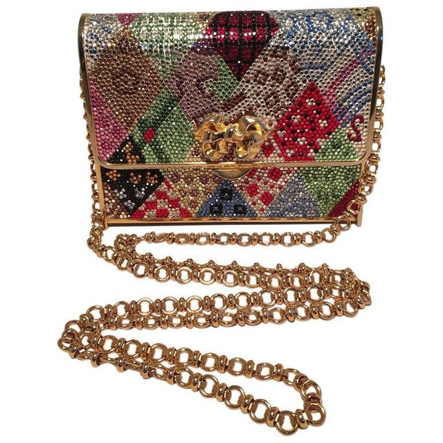Gold Judith Leiber Multicolor Swarovski Crystal Top Flap Box Minaudiere Evening Bag For Sale - Image 8 of 8