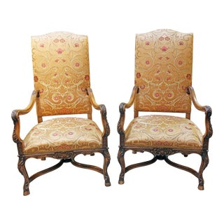 Mid to Late 19th Century French Beech Wood Fauteuils - a Pair For Sale