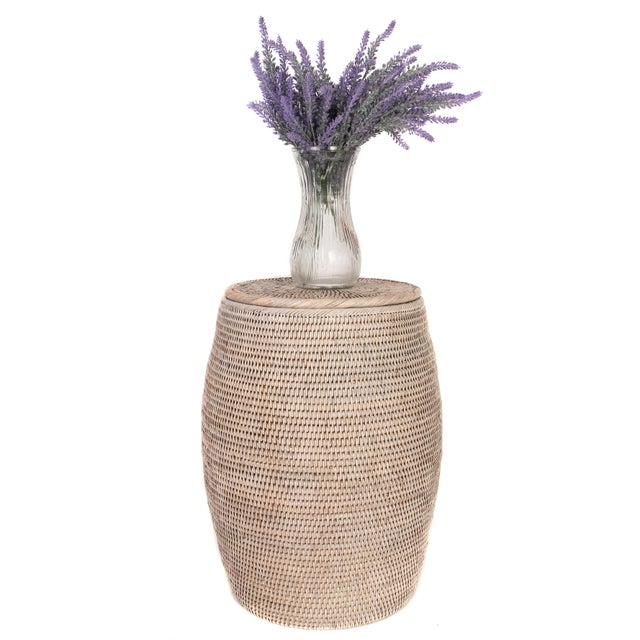 2010s Artifacts Rattan Lidded End Table For Sale - Image 5 of 5