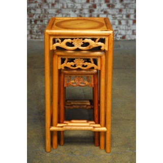 Chinese Lotus Blossom Stacked Nesting Tables - Set of 3 Preview
